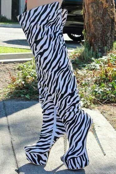 Zebra print over the knee boots