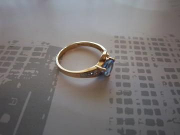 10k Yellow Gold IOLITE Ring Trillion Vintage by onceuponagem for $148.00