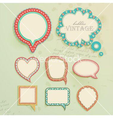 Vintage paper bubbles for speech vector by MiloArt on VectorStock®