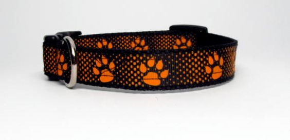 Orange and Black Paw Print  Small or Medium by KibblesandCollars, $7.99