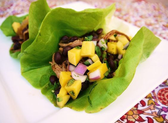 Mexican Black Bean and Pork lettuce wraps