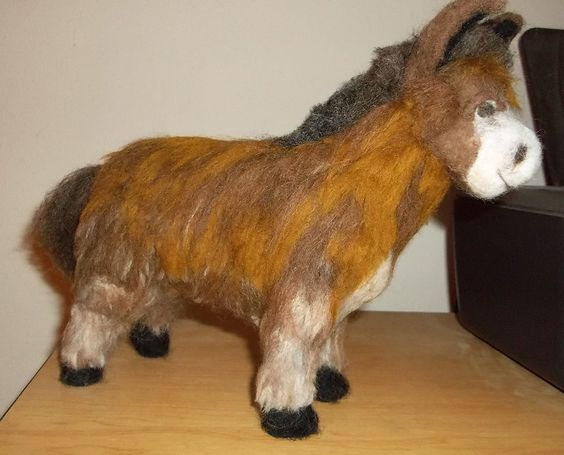Handcrafted Needle Felted Cute  Shaggy donkey