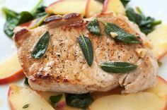 Pork chops are sweetened with pear.