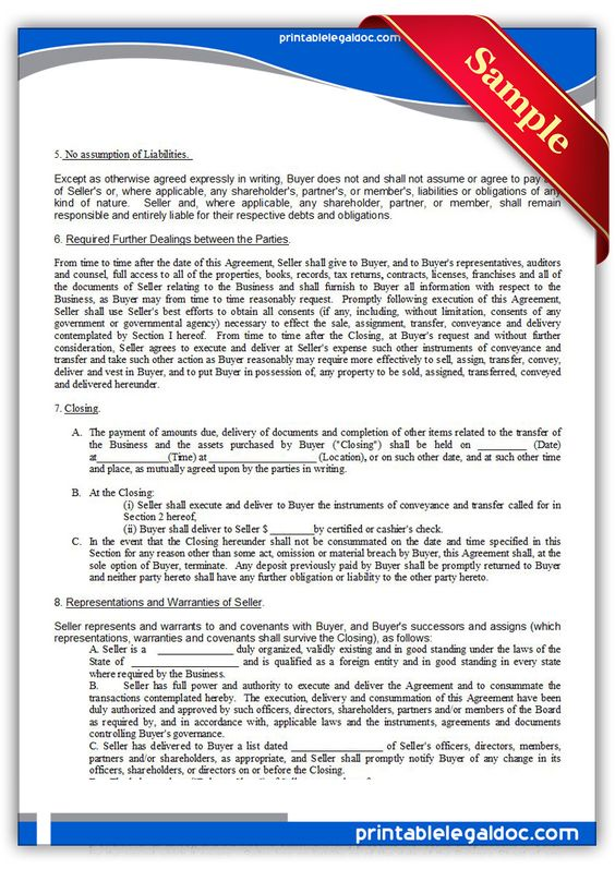 Free Printable Asset Purchase Agreement Legal Forms Free Legal - asset purchase agreements