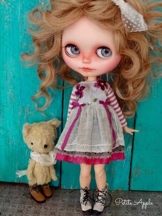 """Blythe doll outfit """"Purple rain"""" vintage aged embroidered dress by marina, $60.00 USD"""
