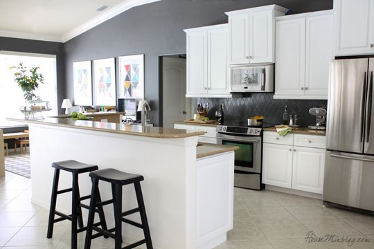 Kitchen with white cabinets and kendall charcoal gray for Charcoal painted kitchen cabinets
