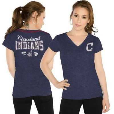 Touch by Alyssa Milano Cleveland Indians Ladies Outfield Slim Fit T-Shirt - Navy Blue