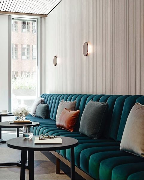 Channel Tufted Banquette In Teal In 2020 Luxury Restaurant Interior Contemporary Home Decor Interior Design
