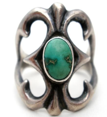 Sterling Silver Green Turquoise Sandcast Ring
