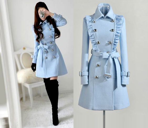light blue ruffled pea coat / jacket.....fleece?
