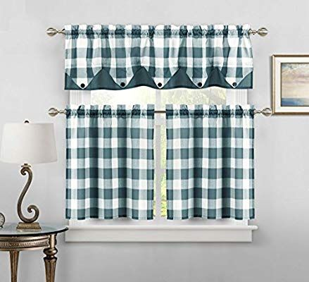 Sheer Small Dark Teal And White Three Piece Kitchen Cafe Tier