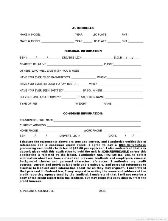 Printable rental owner finance application template 2015   Sample ...