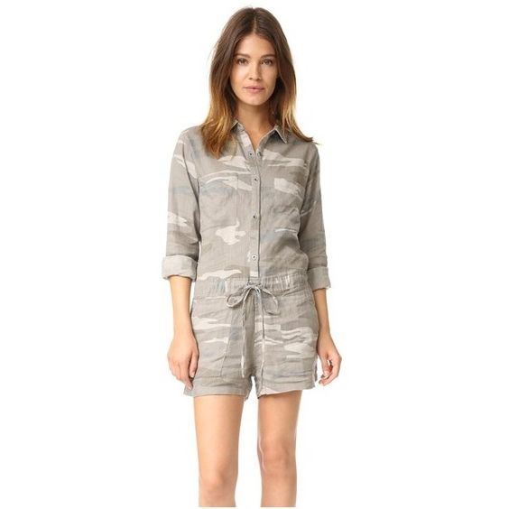 RAILS Bryant Romper ($180) found on Polyvore featuring women's fashion, jumpsuits, rompers, camo, camouflage romper, long sleeve romper, long-sleeve romper, long-sleeve rompers and brown romper: