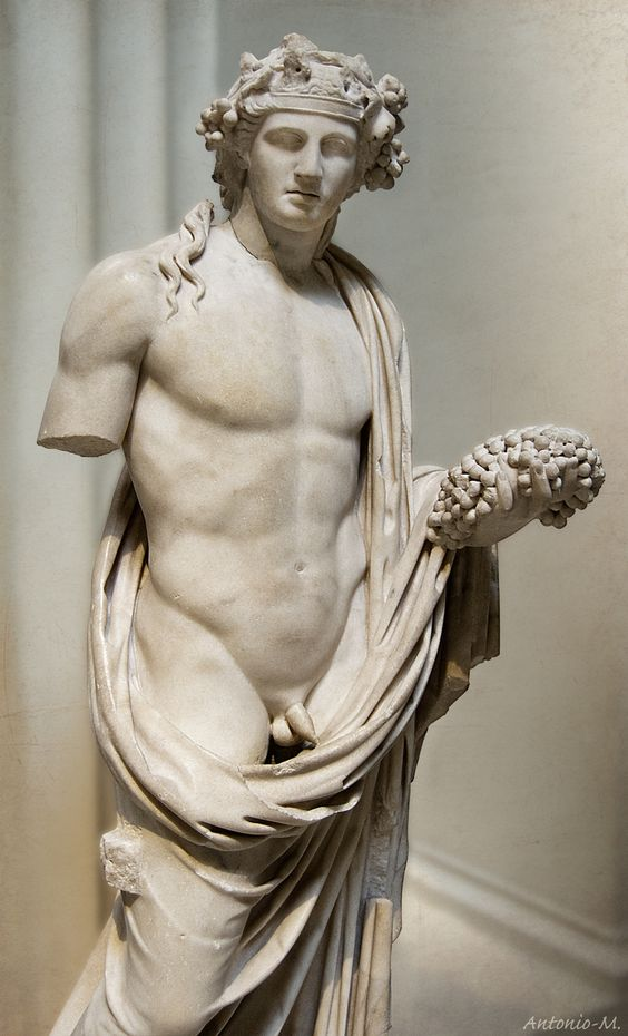 Antinous as Dionysus; the British Museum, London. The perfectly-honed male torso. To be seen in every modern sports stadium.