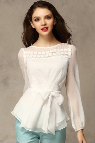 Chic Embroidery Belted Bead Decoration Blouse