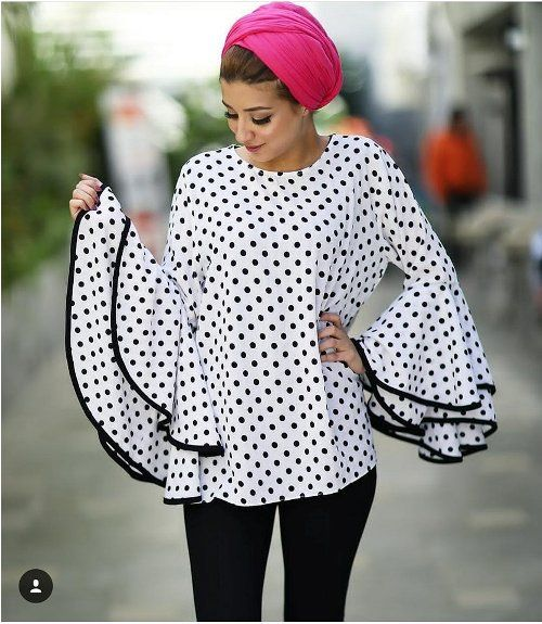 polka dots ruffle blouse-Hijab fashion ideas for Easter – Just Trendy Girls