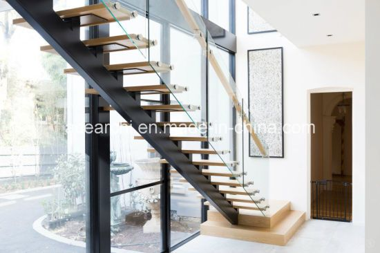 Hot Item Modern Single Beam Straight Staircase Steel Stair With | Glass Stair Treads Cost | Floating | Steel | Handrail | Hardwood | Wood