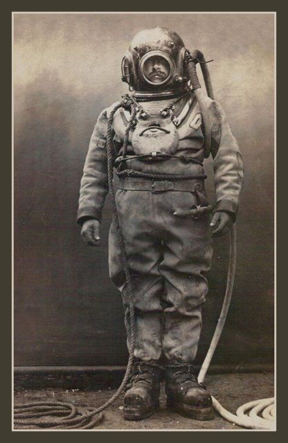 Fridge Magnet vintage Deep Sea Diver retro diving suit by Vividiom, $3.50
