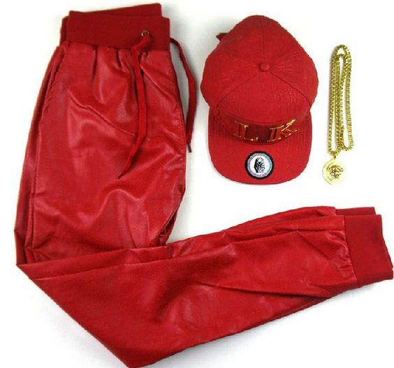 rode pu broek hiphop 2015 nieuwe sport stijl heren lederen broek losse faux leer pu lederen rode kanye west joggers tyga broek