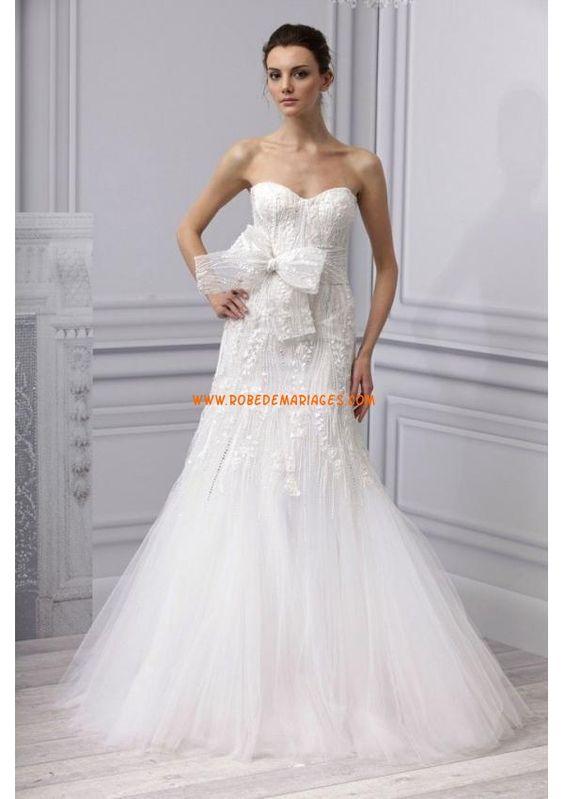 Robe de mariée originale 2013 tulle appliques noeud