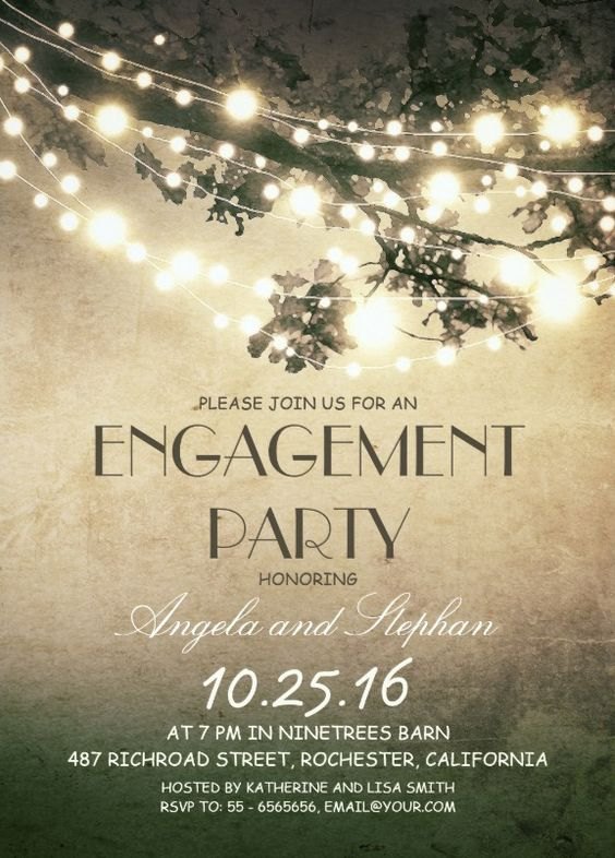Tree branches engagement invitation card rustic string lights - engagement invitation words