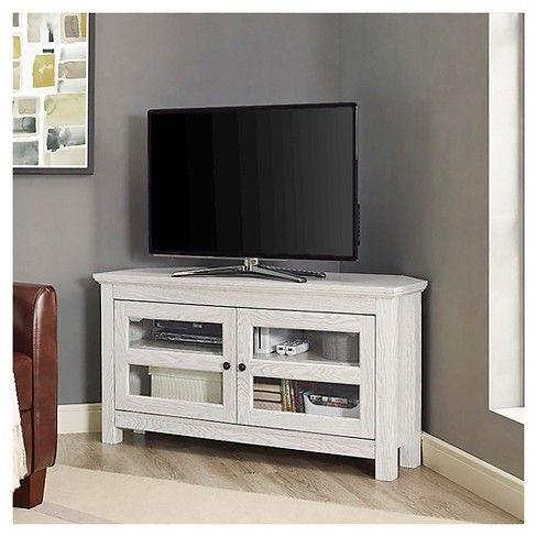 44 Modern 2 Glass Door Corner Tv Stand White Saracina Home Wood Corner Tv Stand Corner Tv Stand Tv Media Stands