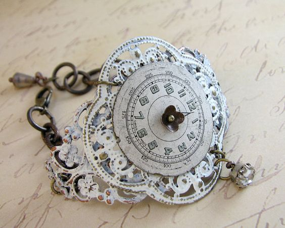 SteamPunk Watch Face Bracelet Victorian Shabby Chic Creamy White OOAK: @ Etsy Created by: ChristineMarieStudio $48.00