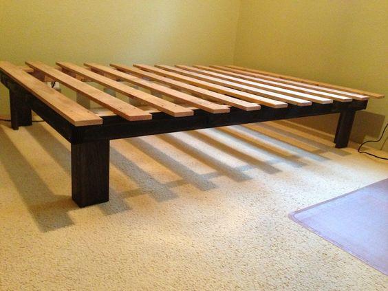 Cheap easy low waste platform bed plans 4x4 platform for Cheap platform bed frame