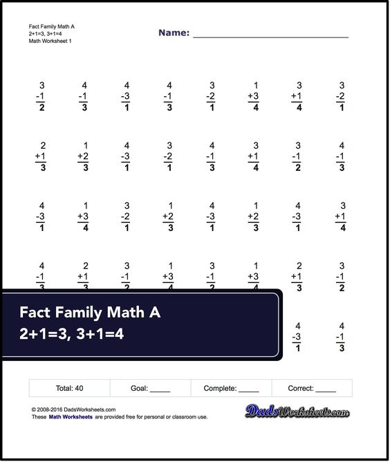 These 40 problem addition and subtraction fact family worksheets ...
