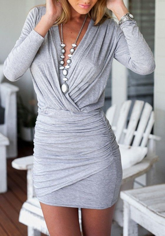 Grey Plain Pleated V-neck Long Sleeve Sexy Mini Dress: