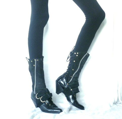 Caellia black leather spats black boots boot covers by ulantia