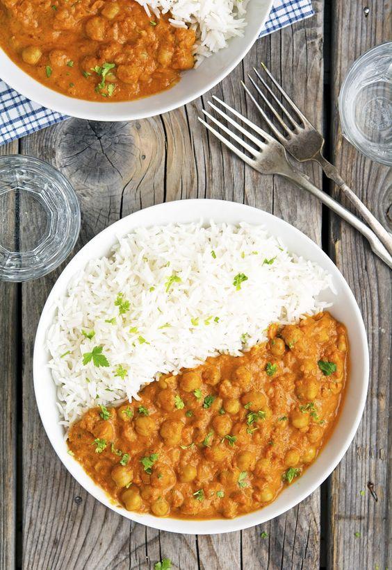 Kichererbsen curry und reis