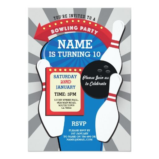 Bowling Birthday Party Tenpin Boys Girls Invite Zazzle Com Bowling Birthday Party Girl Invitations Boy Party Invitations