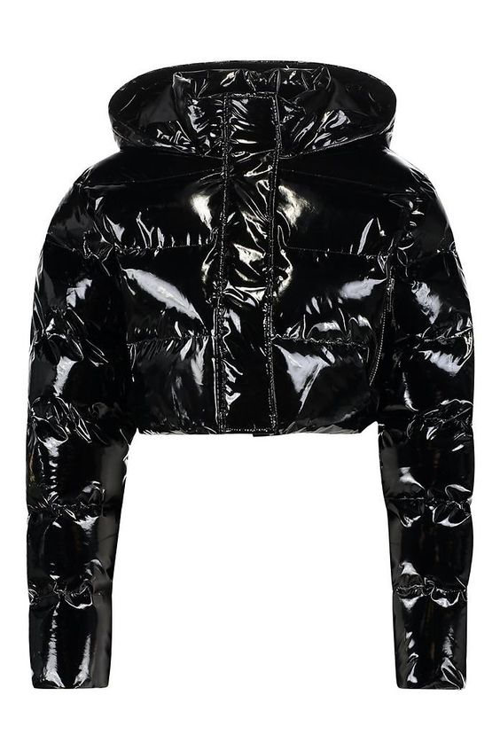 Crop Vinyl Puffer Jacket Boohoo Uk Puffer Jacket Outfit Vinyl Clothing Jackets