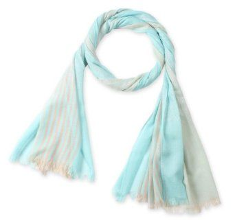 Corciova® Thin Long Striped Silver Selvedged Cotton Linen Scarf with Tassel Ends One Size Grey