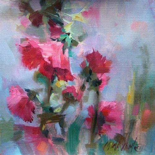 """Shall We Dance? pink Hollyhocks"" - Original Fine Art for Sale - © Mary Maxam"