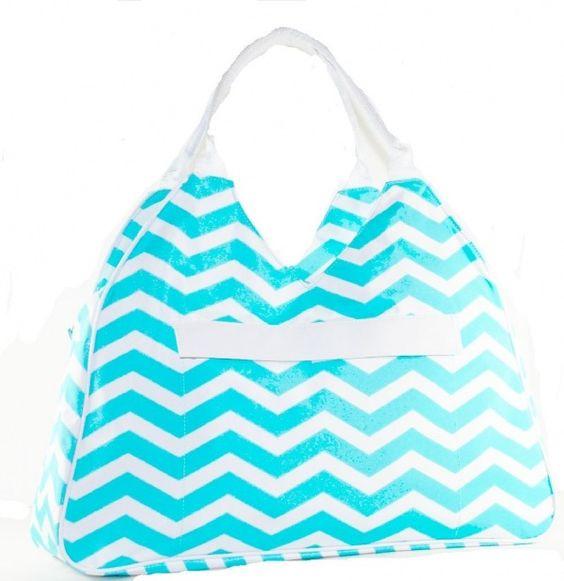 Women's Fashion Bag Chevron Aqua Beach Bag | women's fashion ...