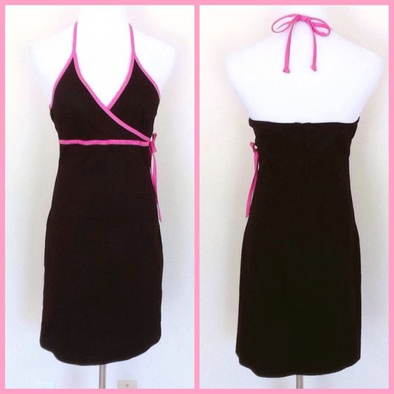 AQUA BLUES HALTER DRESS Black with pink accents.  Ties at the neck and zippered at back with elastic for a secure comfortable fit. Material is thin jean like. 97% Cotton 3% Spandex Aqua Dresses Backless