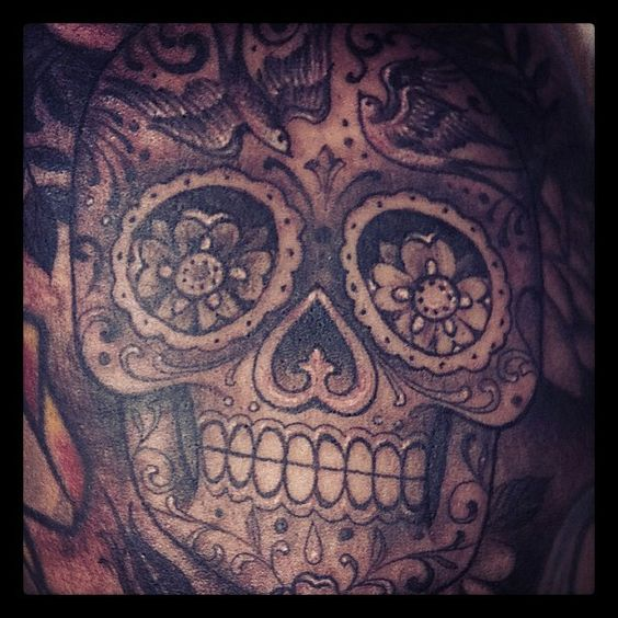 Wow black and gray sugar skull by the kat von d art for Black kat tattoo