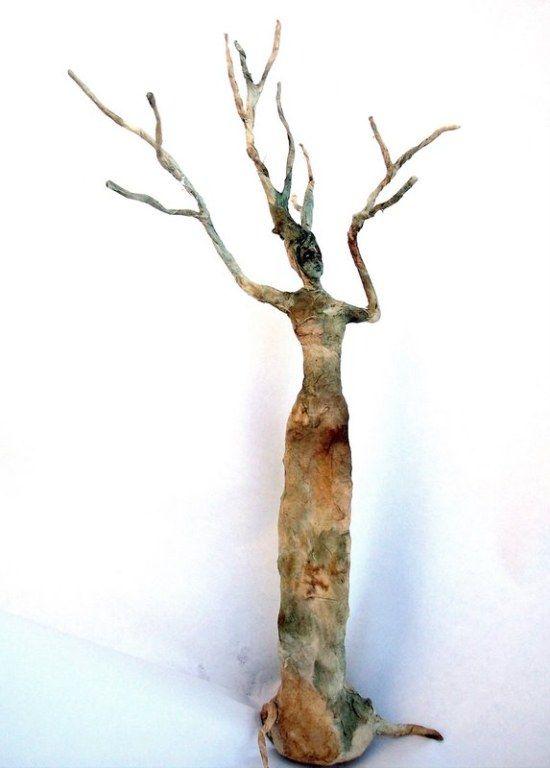 paper mache lady/sprite sculpture