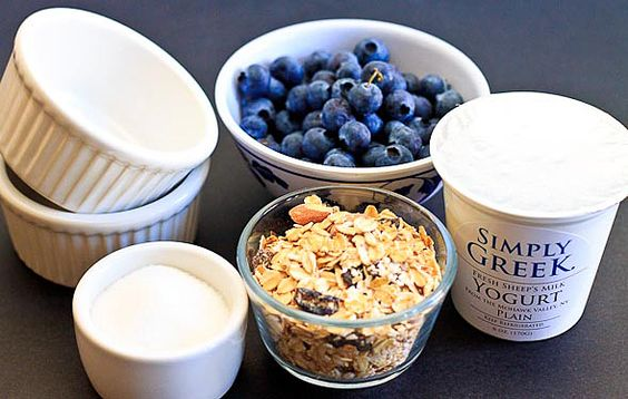 Yogurt with Caramelized Sugar-Mixed with Blueberries and Muesli or Granola