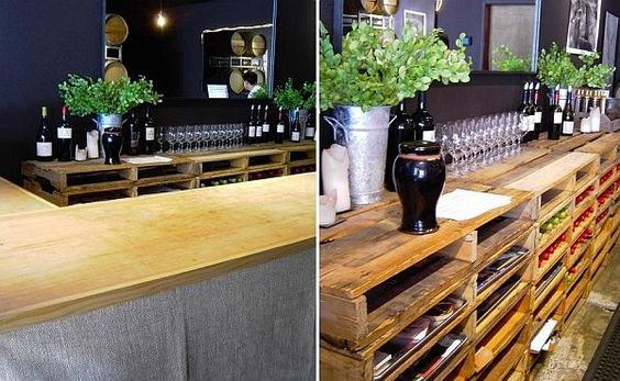 More recycled wooden pallets.........this is a wine rack/bar.