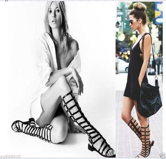New Europe Strappy Knee High Open Toe Gladiator Zipper Closure Flat Sandals in Clothing, Shoes & Accessories, Women's Shoes, Sandals & Flip Flops | eBay