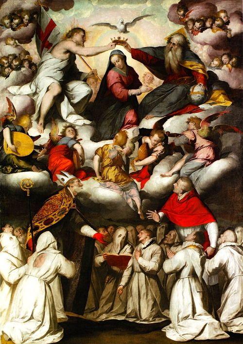 Giovanni Battista Crespi (Il Cerano), La Coronación de la Virgen con San Agustín y San Buenaventura, c.1594-1600