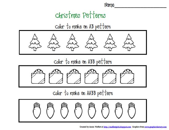 worksheets christmas patterns and patterns on pinterest. Black Bedroom Furniture Sets. Home Design Ideas