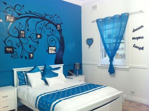 bedroom murals young girl   Cool Blue Tree Murals in Kids Bedroom - Wallpaper Mural Ideas - 13994 ...