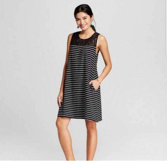 Merona Women's Striped Knit Swing Dress Black Stripe Sz XS NWOT