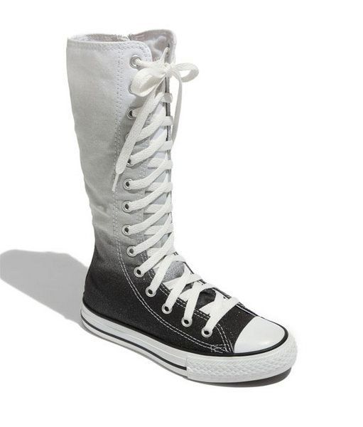 Knee high converse / black & white / boots