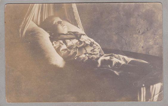 Vintage RPPC Photo - Post Mortem, Little Boy In Sailor Suit, Funeral, Mourning