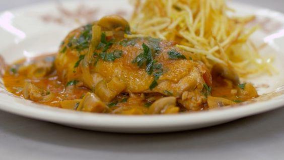 Eén - Dagelijkse kost - kippenbouten met champignons, dragon en pommes paille. (december)